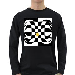 Dropout Yellow Black And White Distorted Check Long Sleeve Dark T Shirts by designworld65