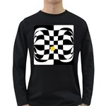 Dropout Yellow Black And White Distorted Check Long Sleeve Dark T-Shirts Front