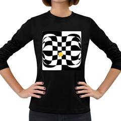 Dropout Yellow Black And White Distorted Check Women s Long Sleeve Dark T Shirts