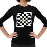 Dropout Yellow Black And White Distorted Check Women s Long Sleeve Dark T-Shirts Front