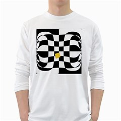 Dropout Yellow Black And White Distorted Check White Long Sleeve T Shirts by designworld65