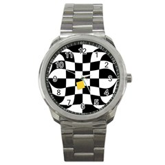 Dropout Yellow Black And White Distorted Check Sport Metal Watch by designworld65
