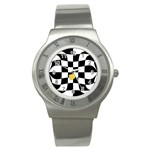 Dropout Yellow Black And White Distorted Check Stainless Steel Watch Front