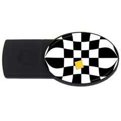 Dropout Yellow Black And White Distorted Check Usb Flash Drive Oval (4 Gb)