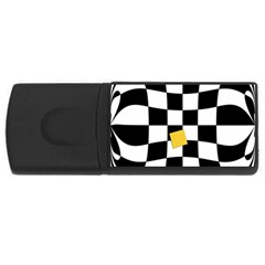 Dropout Yellow Black And White Distorted Check Usb Flash Drive Rectangular (4 Gb)
