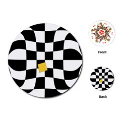 Dropout Yellow Black And White Distorted Check Playing Cards (round)  by designworld65