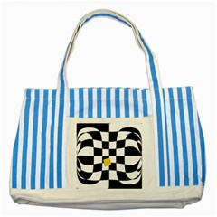 Dropout Yellow Black And White Distorted Check Striped Blue Tote Bag by designworld65