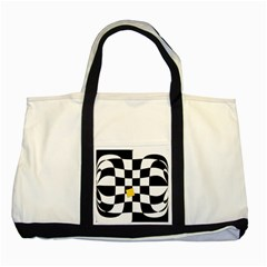 Dropout Yellow Black And White Distorted Check Two Tone Tote Bag by designworld65