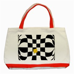 Dropout Yellow Black And White Distorted Check Classic Tote Bag (red)
