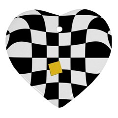 Dropout Yellow Black And White Distorted Check Heart Ornament (2 Sides) by designworld65