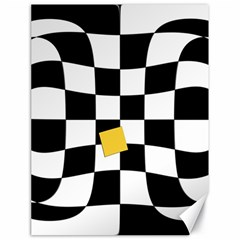 Dropout Yellow Black And White Distorted Check Canvas 18  X 24   by designworld65