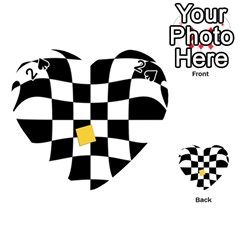 Dropout Yellow Black And White Distorted Check Playing Cards 54 (heart)  by designworld65