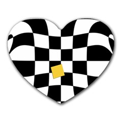 Dropout Yellow Black And White Distorted Check Heart Mousepads by designworld65