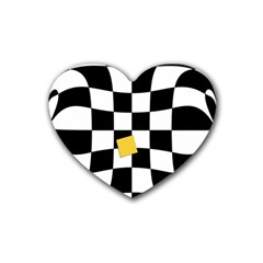 Dropout Yellow Black And White Distorted Check Rubber Coaster (heart)  by designworld65