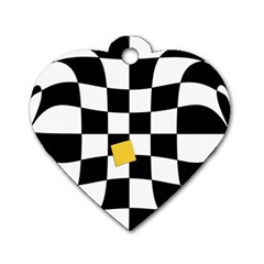 Dropout Yellow Black And White Distorted Check Dog Tag Heart (one Side)