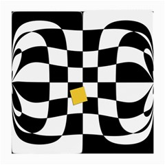Dropout Yellow Black And White Distorted Check Medium Glasses Cloth by designworld65