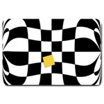 Dropout Yellow Black And White Distorted Check Large Doormat  30 x20 Door Mat - 1