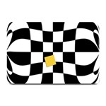 Dropout Yellow Black And White Distorted Check Plate Mats 18 x12 Plate Mat - 1