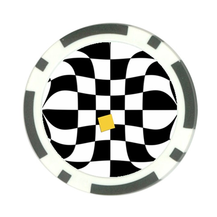 Dropout Yellow Black And White Distorted Check Poker Chip Card Guards