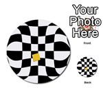 Dropout Yellow Black And White Distorted Check Multi-purpose Cards (Round)  Back 9