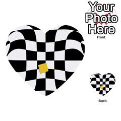 Dropout Yellow Black And White Distorted Check Multi Purpose Cards (heart)  by designworld65