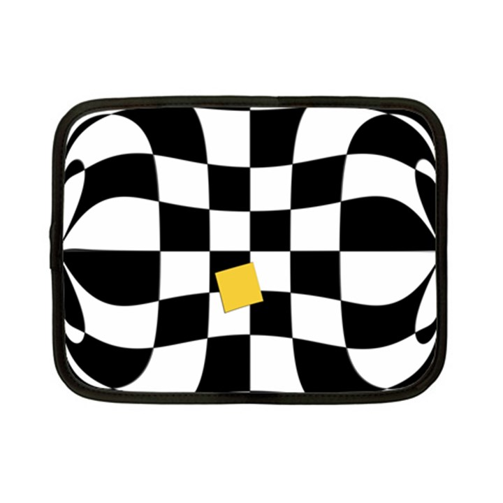 Dropout Yellow Black And White Distorted Check Netbook Case (Small)