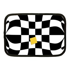 Dropout Yellow Black And White Distorted Check Netbook Case (medium)  by designworld65