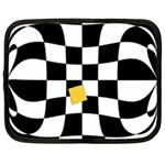 Dropout Yellow Black And White Distorted Check Netbook Case (Large) Front