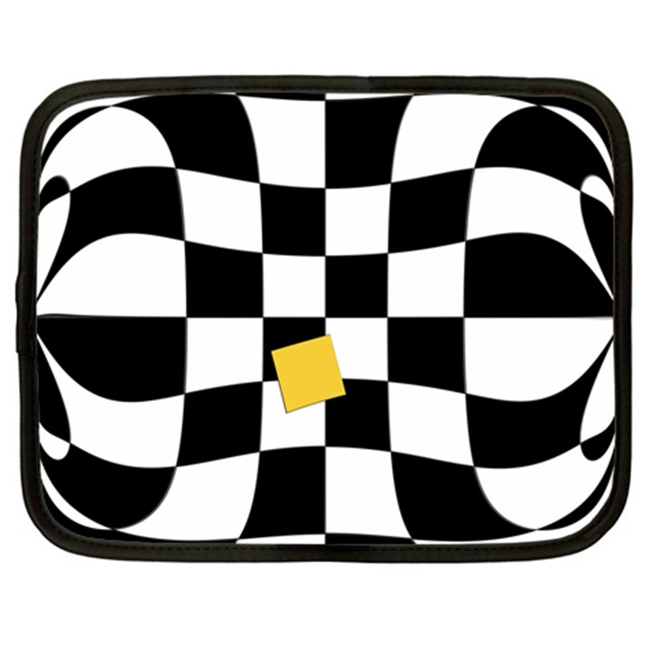 Dropout Yellow Black And White Distorted Check Netbook Case (Large)
