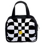 Dropout Yellow Black And White Distorted Check Classic Handbags (2 Sides) Front