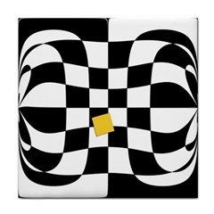 Dropout Yellow Black And White Distorted Check Face Towel by designworld65