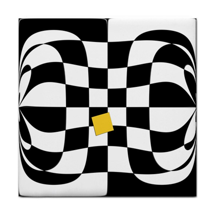 Dropout Yellow Black And White Distorted Check Face Towel
