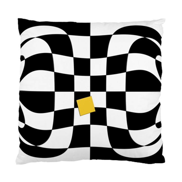Dropout Yellow Black And White Distorted Check Standard Cushion Case (One Side)