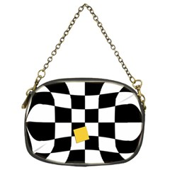 Dropout Yellow Black And White Distorted Check Chain Purses (two Sides)  by designworld65