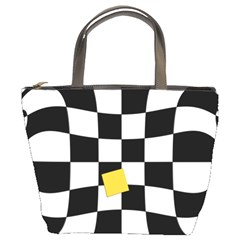 Dropout Yellow Black And White Distorted Check Bucket Bags by designworld65
