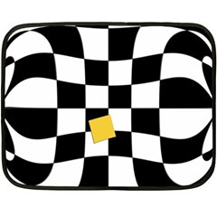 Dropout Yellow Black And White Distorted Check Fleece Blanket (mini) by designworld65