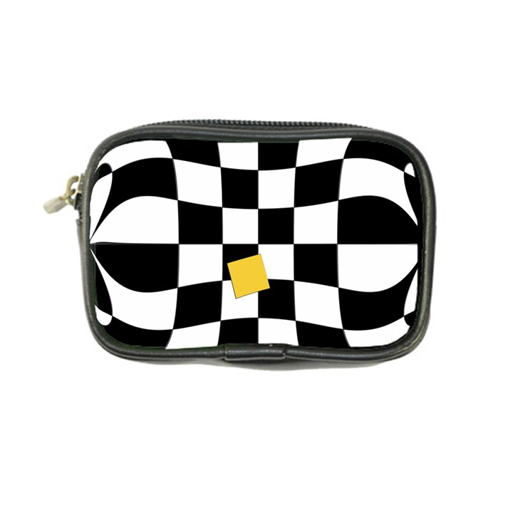 Dropout Yellow Black And White Distorted Check Coin Purse