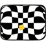 Dropout Yellow Black And White Distorted Check Double Sided Fleece Blanket (Mini)  35 x27 Blanket Back
