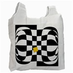Dropout Yellow Black And White Distorted Check Recycle Bag (One Side) Front