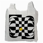 Dropout Yellow Black And White Distorted Check Recycle Bag (Two Side)  Back