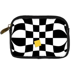 Dropout Yellow Black And White Distorted Check Digital Camera Cases by designworld65