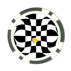 Dropout Yellow Black And White Distorted Check Poker Chip Card Guards (10 Pack)  by designworld65