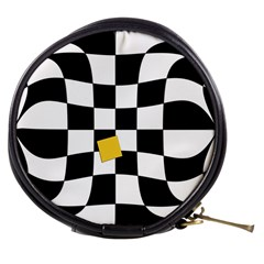 Dropout Yellow Black And White Distorted Check Mini Makeup Bags by designworld65