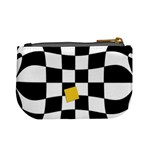 Dropout Yellow Black And White Distorted Check Mini Coin Purses Back