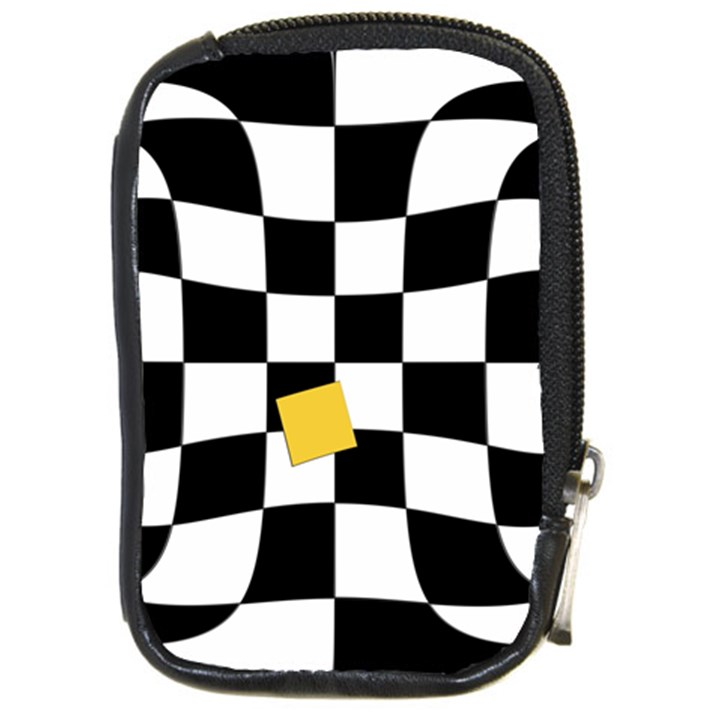 Dropout Yellow Black And White Distorted Check Compact Camera Cases