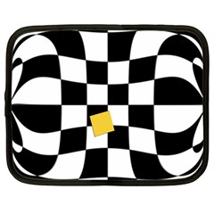 Dropout Yellow Black And White Distorted Check Netbook Case (xxl)  by designworld65