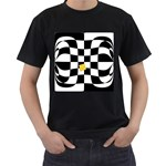 Dropout Yellow Black And White Distorted Check Men s T-Shirt (Black) Front