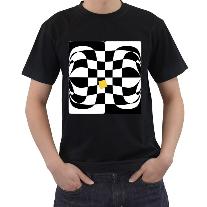 Dropout Yellow Black And White Distorted Check Men s T-Shirt (Black)