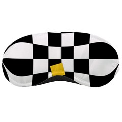 Dropout Yellow Black And White Distorted Check Sleeping Masks by designworld65