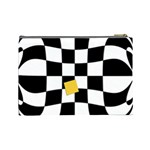 Dropout Yellow Black And White Distorted Check Cosmetic Bag (Large)  Back